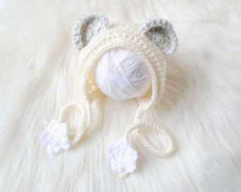 Polar Bear Bonnet, Christmas Baby Photo Outfit, Polar Bear Hat, Bear Bonnet, Winter Photo Prop Baby, Polar Bear Outfit, Baby Bear Outfit