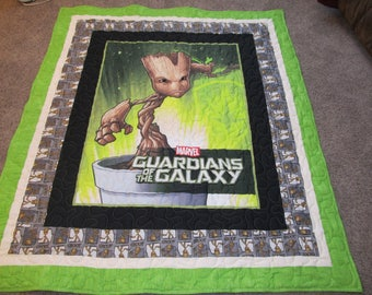 "Groot - 52"" x 61"" - Groot Quilt - Guardians of the Galaxy - Guardians of the Galaxy Quilt - Baby Groot - Baby Groot Quilt - Groot Blanket"