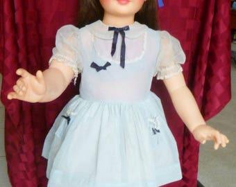 1960s Ideal Patti Playpal doll ~G-35 ~ beautiful Genuine brunette doll w  white swiss dot- blue organdy dress
