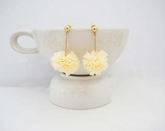 Gold and Cream Pom Pom Ruffle Stud Earrings