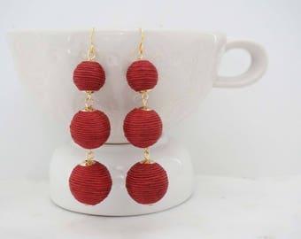 Dark Red Ball Statement Earrings