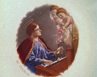 Vintage Saint Cecelia Plate / Plaque