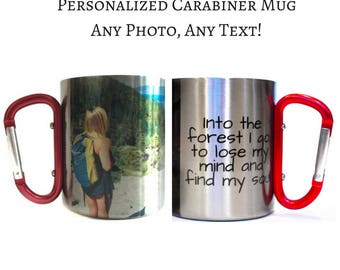 Personalized Mug / Custom Carabiner Handle Coffee Mug / Gift for Hikers, Climbers, Outdoor Enthusiast / Photo On Mug / Valentines Day Gift