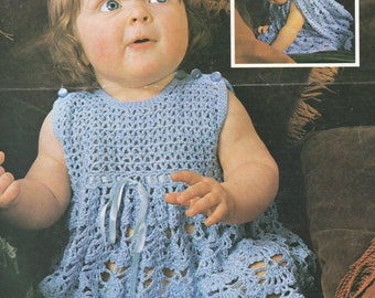Baby crochet dress and cape vintage crochet pattern pdf INSTANT download baby pattern only pdf 1970s