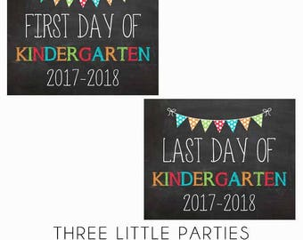 First Day of School Sign AND Last Day of School Sign, INSTANT DOWNLOAD Boy First Day of Kindergarten Sign 8x10, Girl Back to School Sign