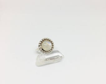 Crystal Ball // sterling silver moonstone ring size 8.25