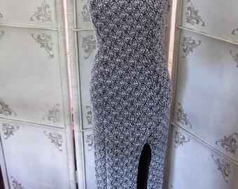 Vintage Evening Dress Black and White Evening Dress Size Medium