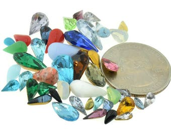 Czech, German Rhinestone Pear Repair Mix Lot Kit Mixed Colors and Sizes 50 pcs Piece Vintage Design