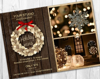 Holiday mini session template - Christmas mini session template - Photography marketing board - Facebook timeline - Photoshop template