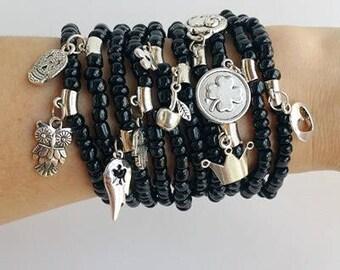 friendship bracelet - bulk Bracelets - Boho Chic - stretch bracelets - layering jewelry - bohemian bracelets - festival jewelry - black