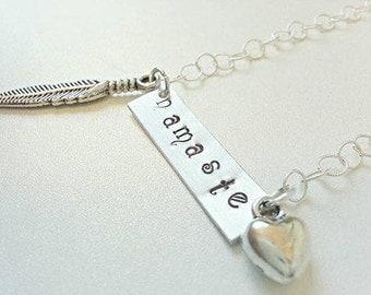 Sterling Silver namaste necklace, Namaste Jewelry, boho necklace, handstamped jewelry, yoga necklace, om necklace, zen necklace