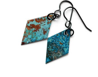 Geometric earrings, Mismatched Earrings, ocean earrings, blue patina, rustic earrings, diamond earrings, modern earrings, boho style