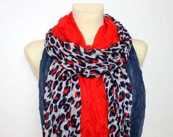 Leopard Print Scarf - Blue & Red Leopard Scarf - Printed Fabric Scarf - Animal Print Scarf - Women Fashion Accessories - gift Ideas for her
