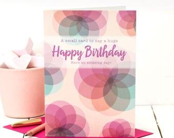 Birthday Card; Birthday Card For Her; Happy Birthday; Pink Birthday Card; Birthday Card For Friend; GC445