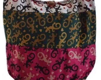 Salamander Hobo bag, Patchwork cotton Hippie bag,  Messenger, Shoulder bag, Gypsy, Hippy, Boho Gypsy bag, Hippie sling bag