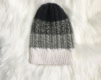 Kids Slouchy Cabled White + Gray + Charcoal Beanie