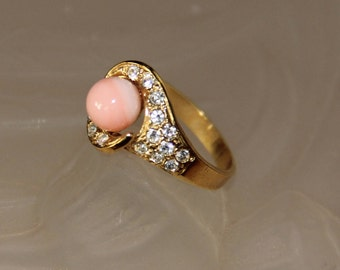 Pink coral ring and rhinestones mounted on plated gold
