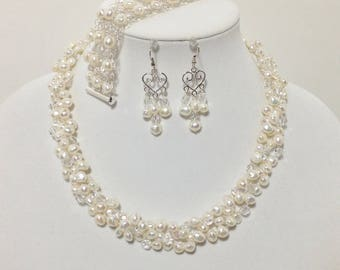White Cultured Freshwater Pearl, Swarovski Crystal, Czech Glass, Wire Crochet, Non-Tarnish Silver Plated Wire, Necklace Bracelet Earrings