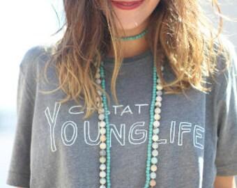 Amazonite Gemstone long double wrap knotted beaded necklace//boho//bohemian