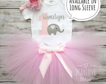 Elephant Birthday Outfit | Elephant First Birthday Outfit | Pink Elephant Birthday | Pink and Grey Birthday | Cake Smash Outfit | Photo Prop