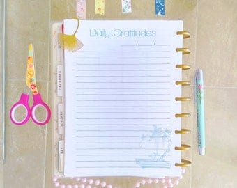 Happy Planner PRINTABLE Inserts 7 x 9 Daily Gratitudes Planner Pages ECLP Inserts Gratitude journal Made To Fit Erin Condren Planner