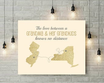 Grandma Long Distance Map | Christmas Gift | Valentines Day | Gift From Grand kids | Birthday Gift For Grandma | Mother Day Gift -67977