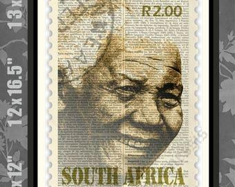 Nelson Mandela STAMP, Nelson Mandela print, Mandela Poster, Nelson Mandela art, Mandela Print, Nelson Mandela Gift, Present, South Africa