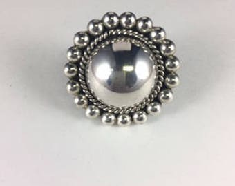 Silver Bead Brooch/Pendant with Large Sterling Silver Half Bead Center Surrounded by Rope Detail and a Circle of Smaller Silver Beads