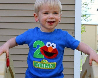 Personalized 2nd Second  Elmo Birthday Shirt 2nd Birthday Shirt or Bodysuit. Embroidered and Appliqued