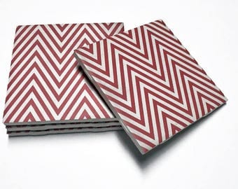 Red Chevron Coasters - Red Drink Coasters - Chevron Decor - Red Chevron - Tile Coasters - Ceramic Coasters - Table Coasters
