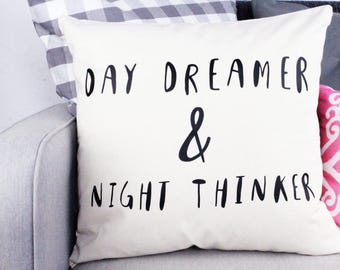 Cushion Cover - Day Dreamer and Night Thinker - 45cm Large - Decorative Pillow - Cotton Canvas - Natural with Black