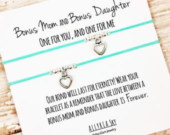 """Set of Two Charm Bracelets with """"Bonus Mom and Bonus Daughter"""" Card 