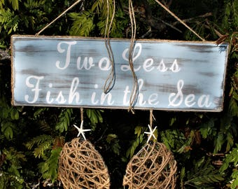Two Less Fish in the Sea, beach wedding, beach centerpiece, beach wedding decor, nautical wedding, coastal wedding, coastal decor