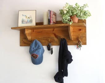 Entryway Shelf | Wood Wall Shelf | Coat Rack Wall Mount with Shelf