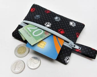 Coin purse, zipper pouch, black zipper purse, change wallet, cat coin purse, paw print zipper pouch, kids coin purse, paw print wallet