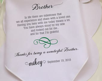 For My Brother Wedding Handkerchief Gift,Printed Hanky ,Welcome Your Own Text,Free Picture Proof After Purchased,Free Gift Box/Code MM1073