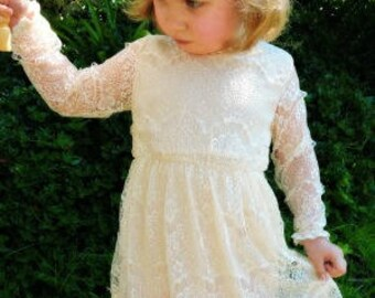 Ivory lace flower girl dress flower girl dress girls lace dress lace dress toddler lace dress boho flower girl dress flower girl dress lace