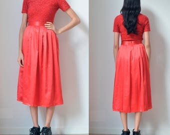 RED SKIRT -90s, 80s, long, a line, circle, party, evening, classic, elegant, maxi, cyber, club kid, cute, prom, night-