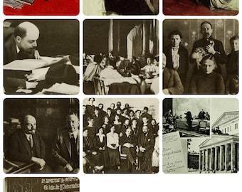 Vladimir Lenin (Ulyanov) - Set of 14 Vintage Soviet Postcards - Printed in the USSR 1960s-1970s. Leader Photos Illustrations Drawings Print
