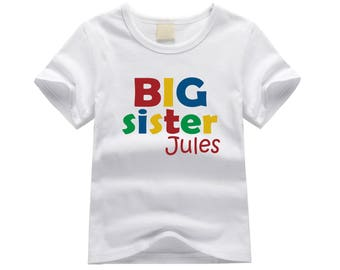 Personalized big sister shirt. Big sister primary colors. Block letter big sister shirt. Big sister announcement. Big sister tshirt.