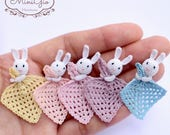 Tiny lovey blanket with little bunny for dollhouse scale 1:12, Dollhouse miniature baby crochet safety blanket, choose you color