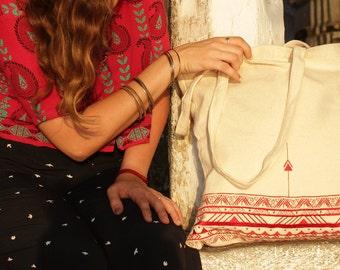 Embroidery bag, boho shic handbag,  red tote bag, vegan tote, canvas market bag, cotton shopping bag, embroidery art, canvas bags for women