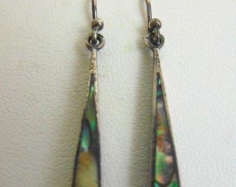 Pr Vintage Estate .925 Sterling Silver Dangle Earrings w/ Abalone, 3.0g E3556