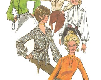 Vintage 70s Butterick 4583 Sewing Pattern Misses Long Sleeve Blouse in Five Variations sz 14 Bust 36 Uncut