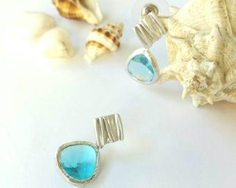 sky-blue drop earrings