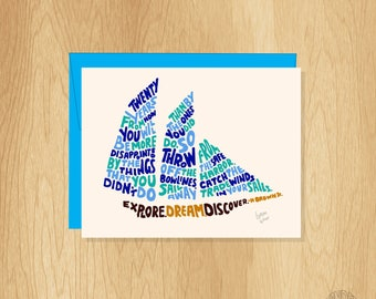 Explore. Dream. Discover. Hand Lettered Card