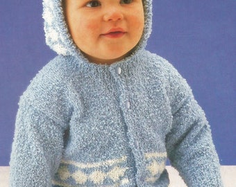 Instant Download - PDF- Hooded Baby Cardigan Knitting Pattern  (111)