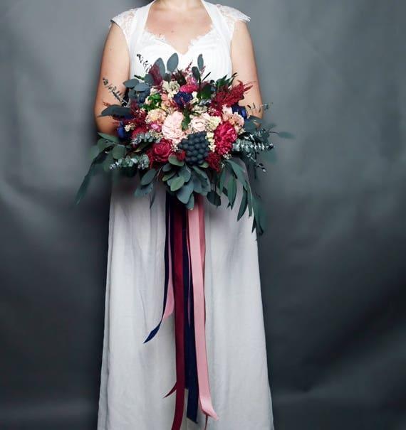 Fall Wedding Flowers List: Wild Boho Fall Wedding Bouquet Preserved Eucalyptus Burgundy