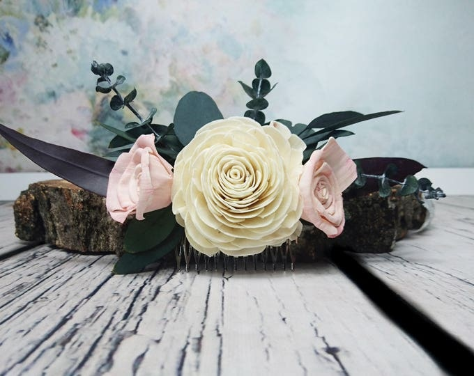 Stabilized eucalyptus hair comb Ivory blush pink rose boho wedding Bridal hairpiece Sola Flower greenery accessory maroon