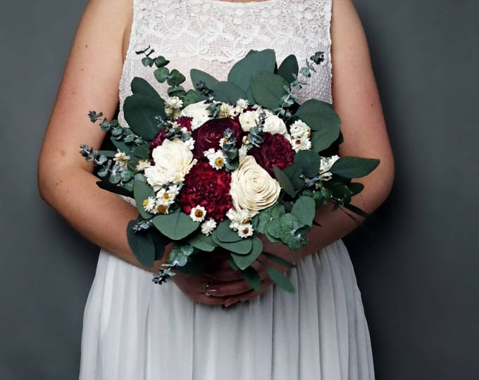 Burgundy wedding bouquet preserved eucalyptus baby blue dark wine white ivory dried flowers sola vintage style bridal bridesmaid elegant